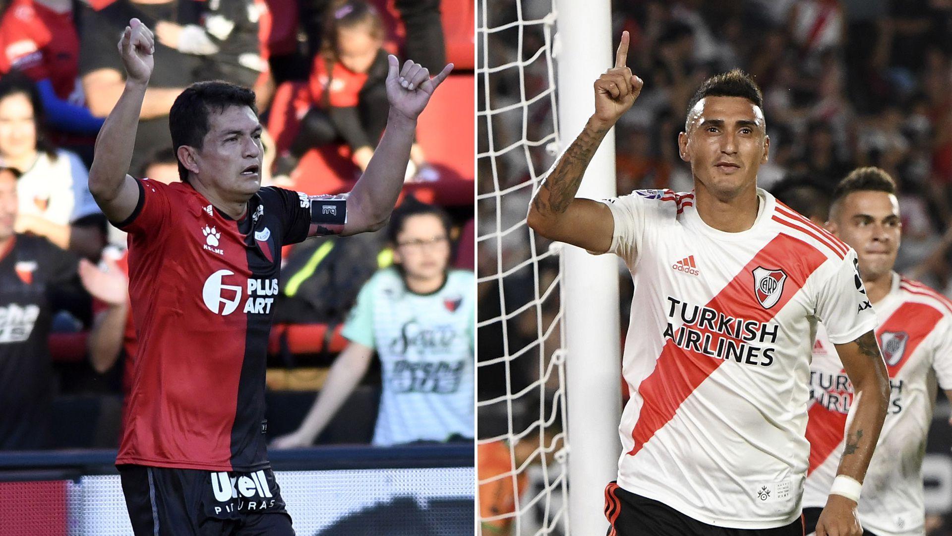 El Pulga Rodríguez (futbolista de Colón de Santa Fe) y Matías Suárez (futbolista de River)
