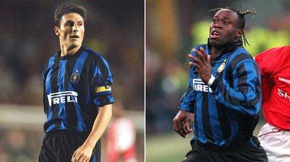 Javier Zanetti y Taribo West durante su época como compañeros en Inter
