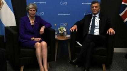 Mauricio Macri y Theresa May, la expremier británica que estuvo durante el G20 de Buenos Aires
