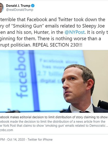 El presidente de los EEUU, Donald Trump, criticó a Facebook por limitar la circulación de la denuncia contra su competidor en las elecciones, Joe Biden.