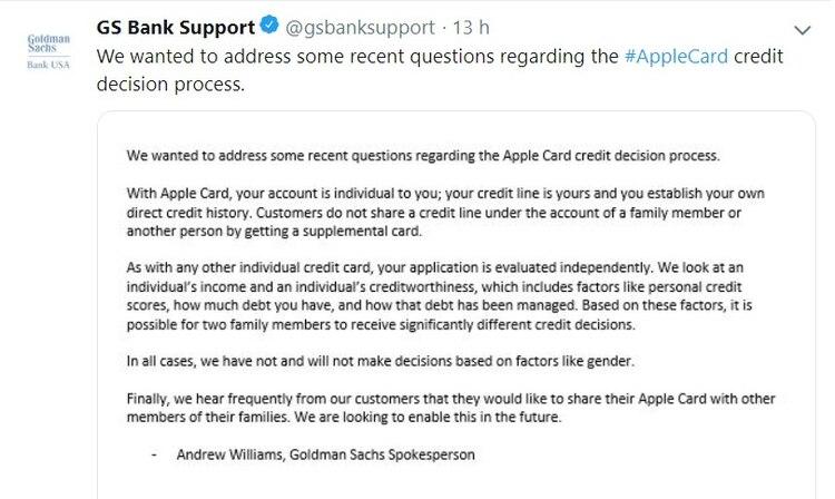 Goldman Sachs publicó un comunicado donde dijo que los solicitantes de Apple Card fueron evaluados teniendo en cuenta su situación crediticia y aseguró que no se discriminó por cuestiones de género.