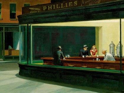 Nighthawks (Noctámbulos), 1942, se encuentra en el Instituto de Arte de Chicago, Chicago