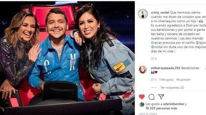 Cristy Nodal acudió en el mes de julio a las grabaciones de La Voz México (Foto: Instagram)