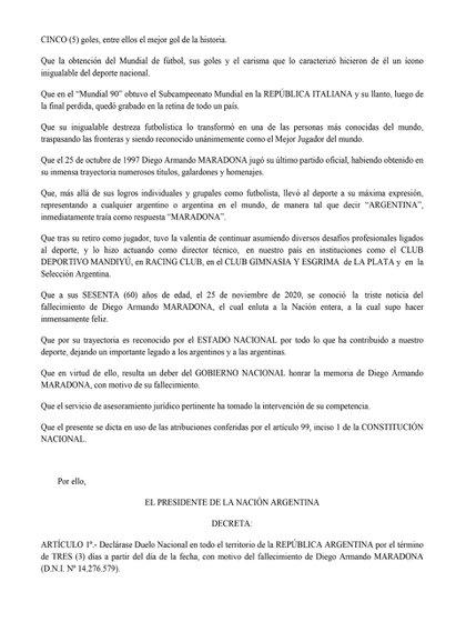 El decreto presidencial que escribieron Alberto Fernández y Vilma Ibarra disponiendo un duelo de tres días por la muerte de Diego Maradona