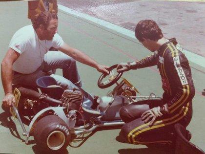 Senna en el Sudamericano de Karting de 1979 en San Juan. Detalle: las gomas de ese certamen eran nacionales de marca Fliter. (Archivo Henry Martin)