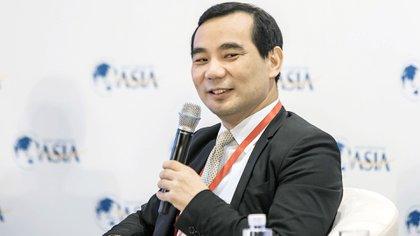 Wu Xiaohui, presidente y director ejecutivo de Anbang Insurance Group Co., habla durante el Foro de Boao el domingo 26 de marzo de 2017 (Qilai Shen/Bloomberg)
