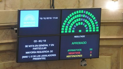 La ley fue aprobada con 59 votos a favor y ninguno en contra (foto: Patricio Murphy)