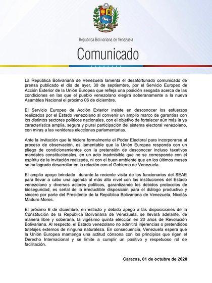 El comunicado del régimen de Maduro