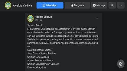 Alcaldía de Valvidia, Antioquia, denunció una posible desaparición de 6 jóvenes caldenses cuando se encontraban en el corregimiento de Puerto Valdivia / (Facebook: alcaldiaval).