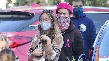 Harry Styles y Olivia Wilde fueron vistos con amigos paseando por Montecito, California (The Grosby Group)