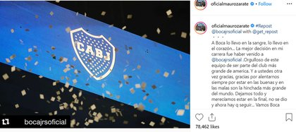 Así fue el posteo de Zárate en su cuenta de Instagram