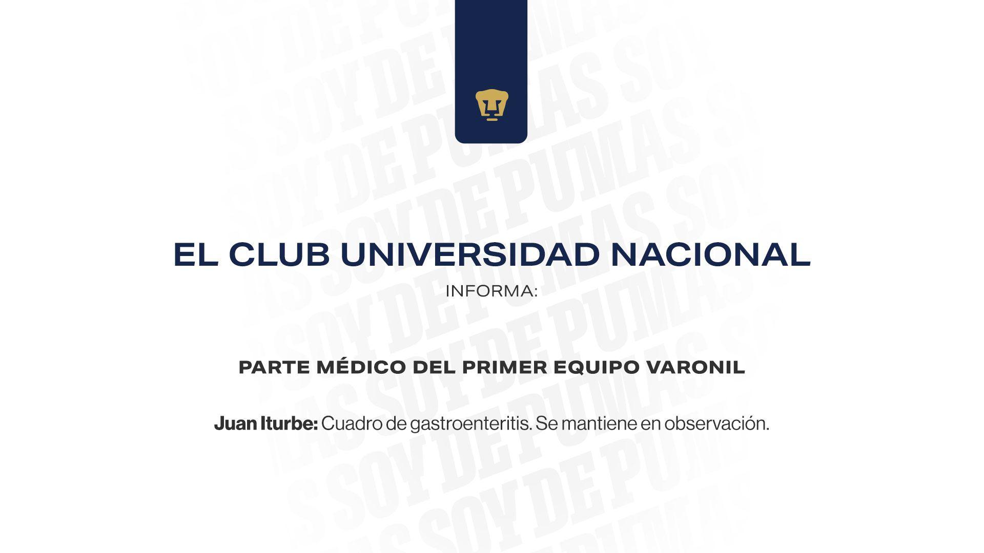 Juan Iturbe informe médico Pumas