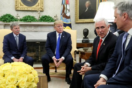Donald Trump, Mike Pence y Robert O'Brien.  REUTERS/Jonathan Ernst/File Photo