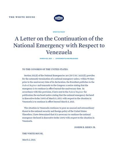 El comunicado sobre la prórroga de la emergencia