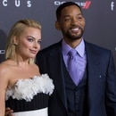Cast members Will Smith and Margot Robbie pose at the premiere of