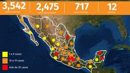 Este es el panorama en México hasta el viernes 27 de marzo de 2020 (Foto: Infobae)