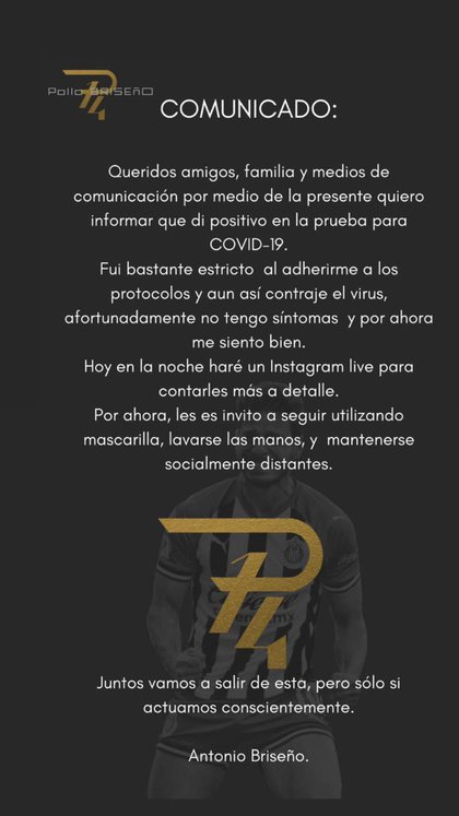 Comunicado de Antonio Briseño (Foto: Twitter/ @pollobv)
