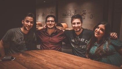 Drekzenn, Nicolás Crespo, Kmau y Miel Batista. Los organizadores d ela Copa junto a los padrinos.