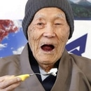 FILE PHOTO: Japanese Masazo Nonaka, who was born 112 years and 259 days ago, eats his favorite cake as he receives a Guinness World Records certificate naming him the world's oldest man during a ceremony in Ashoro, on Japan's northern island of Hokkaido, in this photo taken by Kyodo April 10, 2018. Nonaka died at the age of 113 on January 20, 2019, local media reported. Mandatory credit Kyodo/via REUTERS/File Photo ATTENTION EDITORS -THIS IMAGE WAS PROVIDED BY A THIRD PARTY. MANDATORY CREDIT. JAPAN OUT. NO COMMERCIAL OR EDITORIAL SALES IN JAPAN.