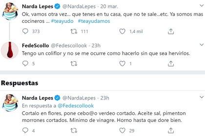 El intercambio de tuits entre Narda Lepes y sus seguidores