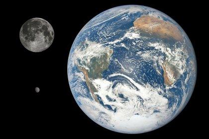 Comparación del tamaño de la Tierra, la Luna y Farout (Twitter Corey S. Powell /@coreyspowell)