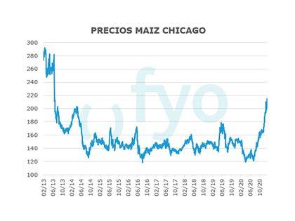 Evolución de los precios del maíz desde 2013 hasta la hecha (FYO)