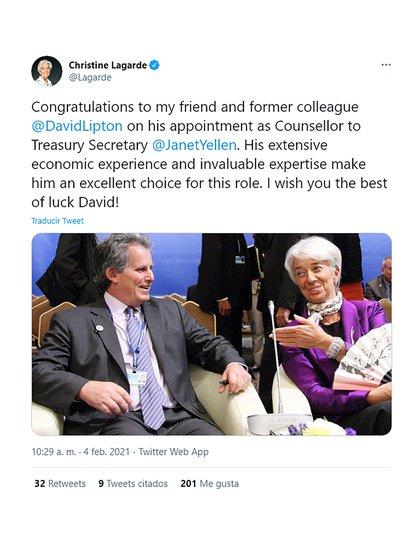 La ex titular del FMI Christine Lagarde felicitó a David Lipton