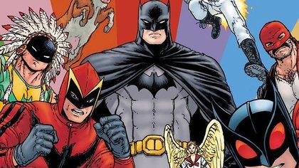 Batman, Incorporated. A la derecha, la versión moderna de El Gaucho. Arte de Frank Quitely