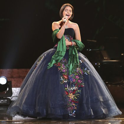 """Angela Aguilar performs """"La Llorona"""" at the 61st annual Grammy Awards on Sunday, Feb. 10, 2019, in Los Angeles. (Photo by Matt Sayles/Invision/AP)"""