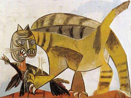 """""""Gato comiendo a un pájaro"""", de Pablo Picasso"""
