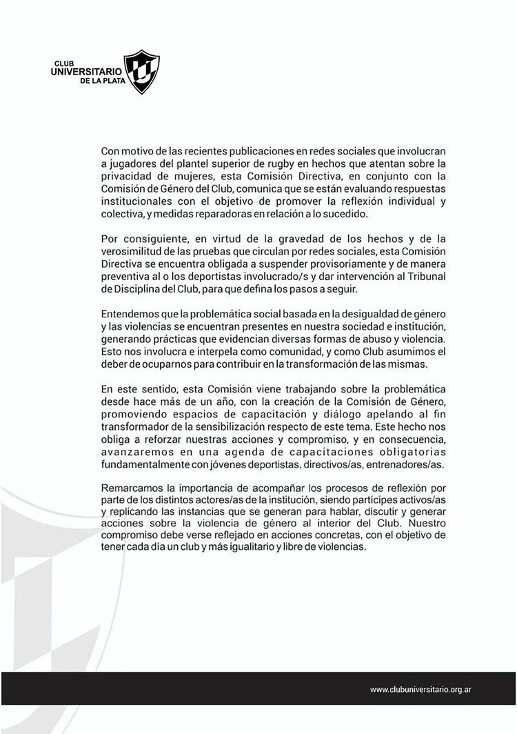 El comunicado del Club Universitario de La Plata.
