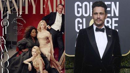"""La portada de Vanity Fair y James Franco en la entrega de los premios Globos de Oro el 7 de enero pasado con su pin """"Time's Up"""""""
