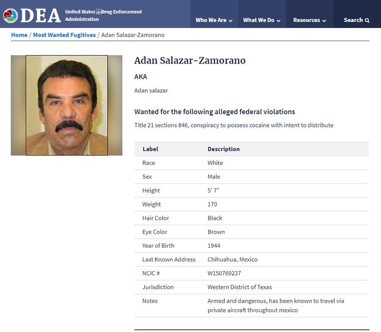 Adán Salazar es buscado por la DEA por distribuir coca en los Estados Unidos (Foto: DEA)