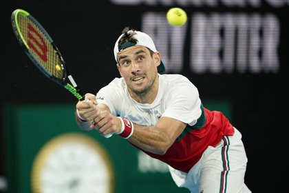 Tennis - Australian Open - Third Round - Melbourne Park, Melbourne, Australia - January 24, 2020. Argentina's Guido Pella in action during his match against Italy's Fabio Fognini. REUTERS/Kim Hong-Ji