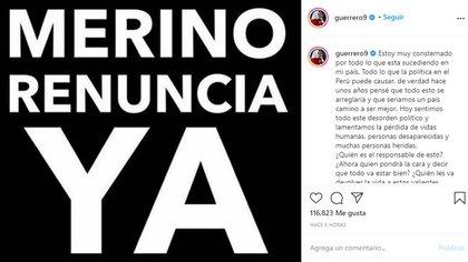 El mensaje de Paolo Guerrero, antes de la renuncia de Merino (Instagram: @guerrero9)