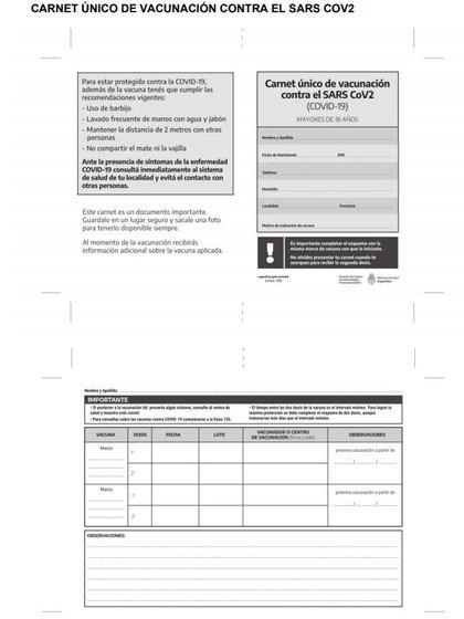 El carnet incluye información de la persona vacunada, como su nombre, apellido y DNI, pero también de la dosis utilizada y del centro donde se realizó la inyección