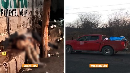 (Izquierda a derecha) Seis hombres fueron asesinados a balazos en la comunidad El Vergel, en Morelos, el pasado 25 de mayo.  Una camioneta abandonada en Michoacán,  contenía los cadáveres de 12 personas (Foto: Especial)