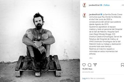 El comunicado publicado en Instagram