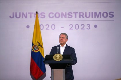 Colombia's President Ivan Duque speaks during a meeting with mayors and governors elected for the new term of office, in Bogota, Colombia November 24, 2019. REUTERS/Luisa Gonzalez