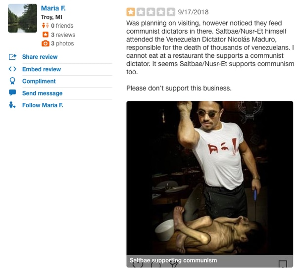 Fuertes críticas en Yelp.com a Salt Bae. Yelp es una herramienta que recomienda los mejores negocios