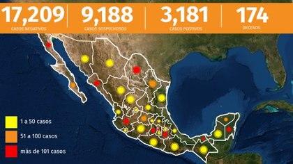 Este es el panorama del país por la epidemia de coronavirus hasta el miércoles 8 de abril de 2020 (Foto: Infobae México)