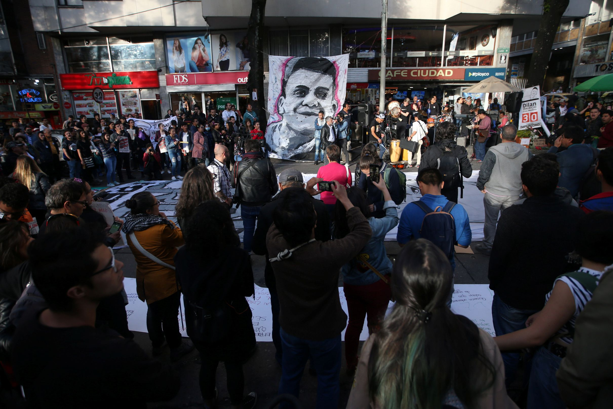 People gather to honour Dilan Cruz, a teenage demonstrator who died after being injured by a tear gas canister during an initial strike in Bogota, Colombia December 23, 2019. REUTERS/Luisa Gonzalez
