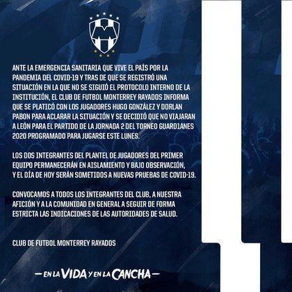 Rayados de Monterrey informó que separó a ambos futbolistas (Foto: Twitter@Rayados)