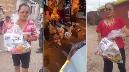 Está imagen pertenece a la entrega de narcodespensas durante el  inicio de la pandemia en México. La repartición de despensas es estratégica para los cárteles de la droga (Foto: Captura de pantalla)