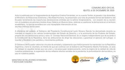 El comunicado emitido por las autoridades ecuatorianas