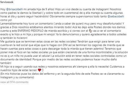 El descargo completo de Fernanda Vives (Foto: Instagram)