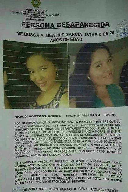 Beatriz García, una mujer que había desaparecido en 2017 y su caso era investigado en una denuncia por trata. Su cuerpo apareció el 1° de marzo y fue el tercero en la serie de hallazgos.