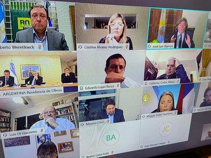 Los referentes de los bloques opositores mantuvieron un encuentro virtual con el Presidente