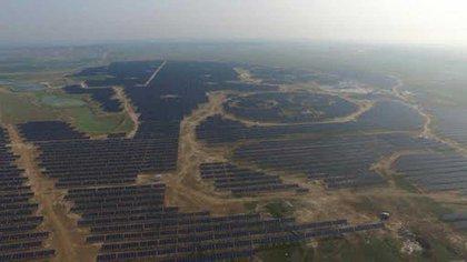 La verdadera imagen de la planta fotovoltaica que imita las formas del panda
