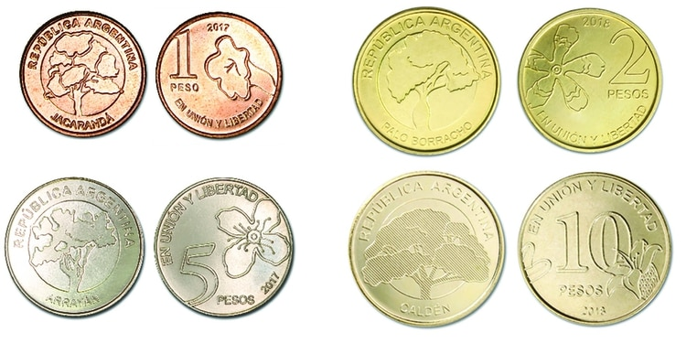 Abajo a la izquierda, la moneda que ya está en circulación y reemplazará por completo a los billetes (BCRA)